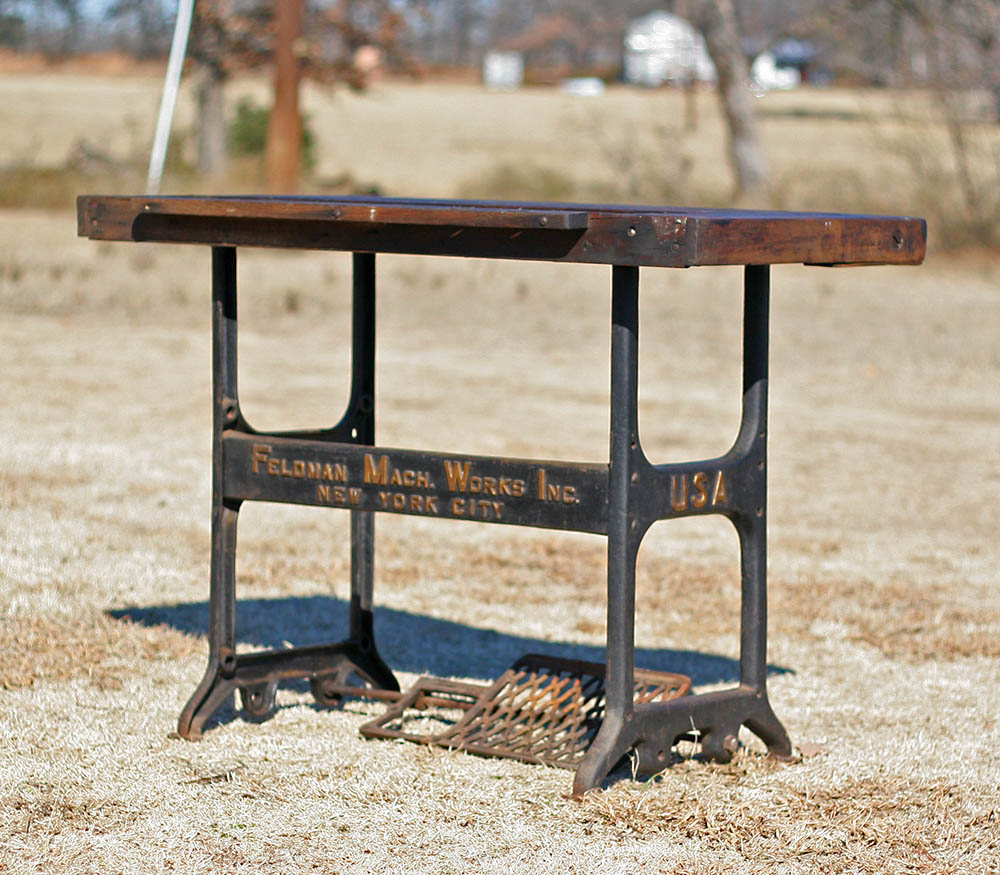 Factory caster vintage industrial furniture - Custom Carpentors Bench Vintage Industrial Table
