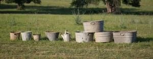 galvanized buckets including ash bucket
