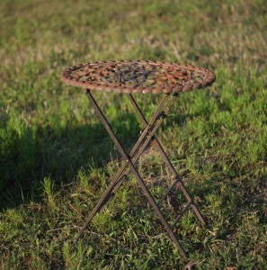 small iron fold up table