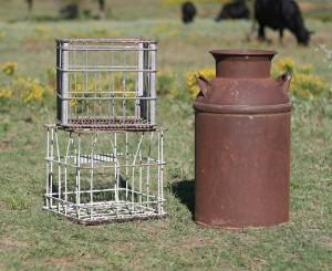 milk crates and milk jug