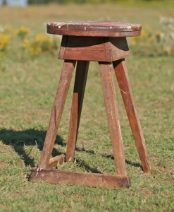 primitive wood stool