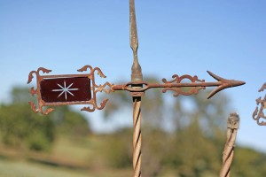 red glass weathervane