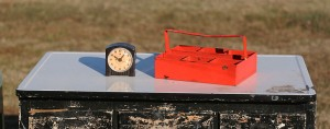 industrial tray and clock
