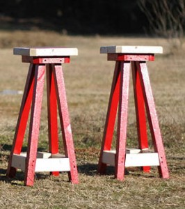 red and white stools