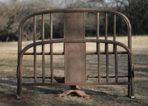 metal bed brown