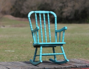 childs teal rocking chair