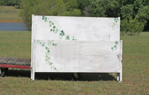shabby chic bed with vine painting
