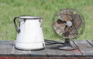 brass bladed fan and coffee pot