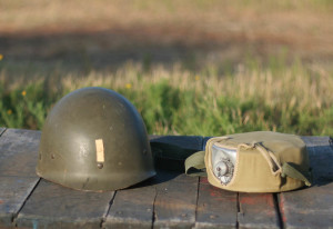 helmet and canteen