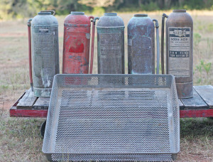 galvanized basket and fire ext
