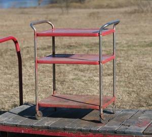 red kitchen cart