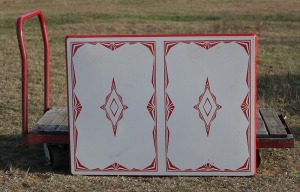 red and white table top