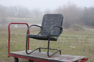 black vintage lawn chair