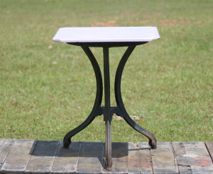 cast iron table with ceramic top