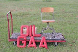 red letters and chair
