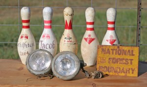 bowling pins lights and sign
