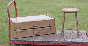 metal cases and stool