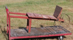 vintage wood wheelbarrow