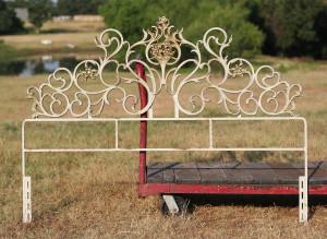 ornate mid century iron headboard