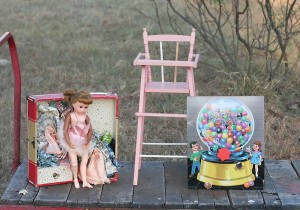 highchair doll and gumball machine