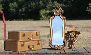 suitcases mirror and shelf