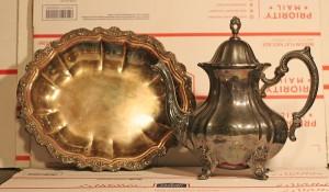 silver tea pot and platter