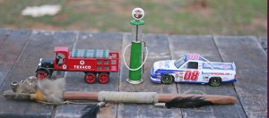 gas pump and cars