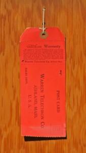clock warranty card